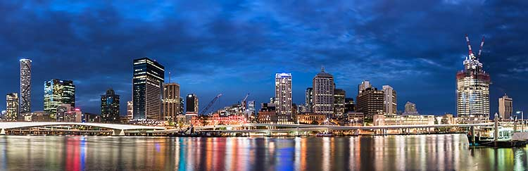 Brisbane city skyline at night