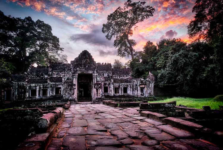 Preah Khan temple in Cambodia at dawn