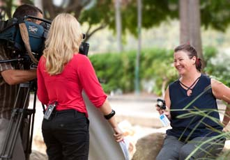 Channel 9 TV crew filming our photography course at South Bank, Brisbane