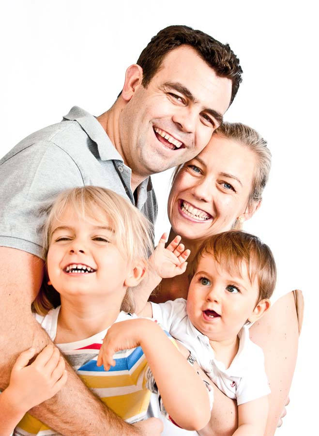 a family photo together on a white background
