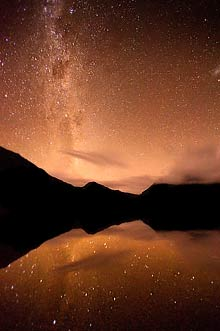 Cradle Mountain, Tasmania with stars reflected in Dove Lake