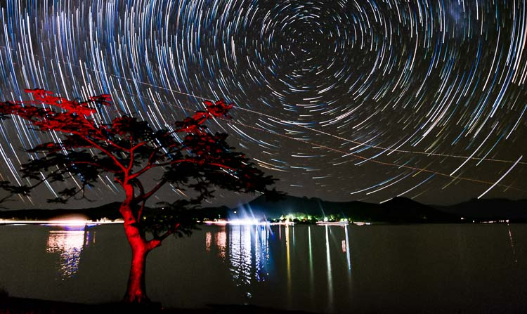 Star streaks made by stacking 300 photos