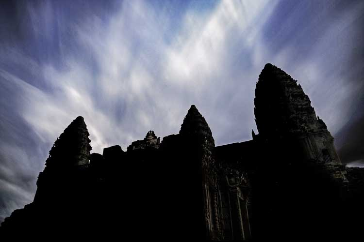 Angkor Wat with moving clouds, Cambodia