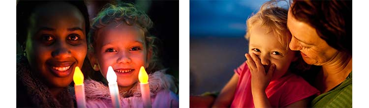 Photos of people in candlelight and low light