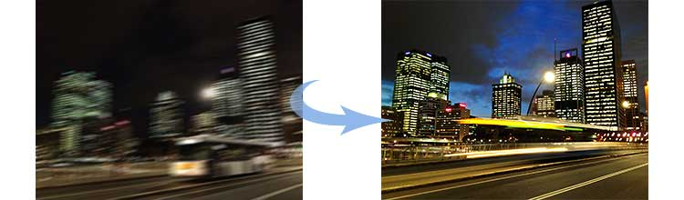 Two iPhone photos of Brisbane city at night, showing how to shoot at night